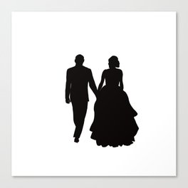 Wedding Couple Silhouette Design For Weddings Canvas Print