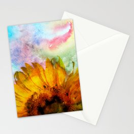 Sunflower on colorful watercolor background - Flowers Stationery Cards