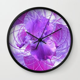 Quilted Lilac Design With Lilac Iris Flower Wall Clock