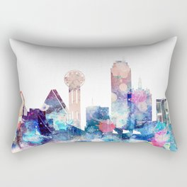 Blue Watercolor Dallas skyline design Rectangular Pillow