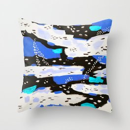 Spotted Abstract in Neon Blue Throw Pillow