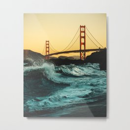 low-angle-shot-of-strong-waves-crashing-on-the-shores-under Metal Print