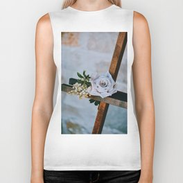 Rose on the Cross (Color) Biker Tank