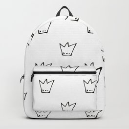 Black Crowns Pattern Backpack