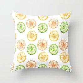 Citrus Trio: Lemon, Lime, and Orange Throw Pillow