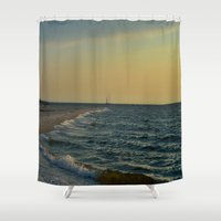 sailboat Shower Curtains featuring Sailboat by Damn_Que_Mala