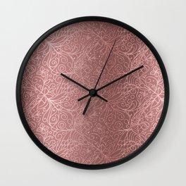 Rose Gold Floral Garden Wall Clock