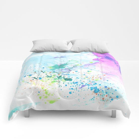 Stream of Consciousness watercolor Comforters