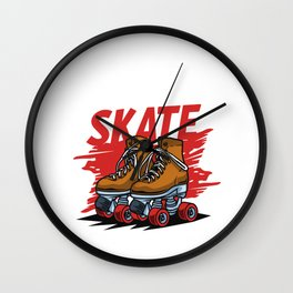 You Can Skate Inline Skating Rollerblading Gift Wall Clock