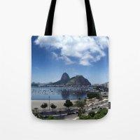 rio de janeiro Tote Bags featuring Lovely Rio de Janeiro by Michel Lent