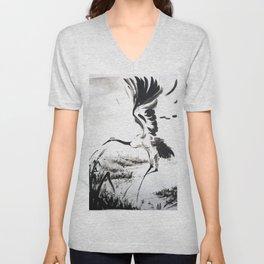 watercolor japan art grue, flying bird chinese ink Unisex V-Neck