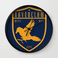 ravenclaw Wall Clocks featuring Ravenclaw Crest by machmigo