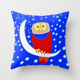 Owl lands on the moon Throw Pillow