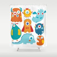 aliens Shower Curtains featuring Aliens and monsters pattern by Maria Jose Da Luz