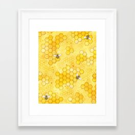 Meant to Bee - Honey Bees Pattern Framed Art Print