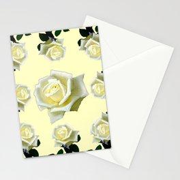 B&W WHITE ROSE GARDEN DESIGN PATTERN Stationery Cards