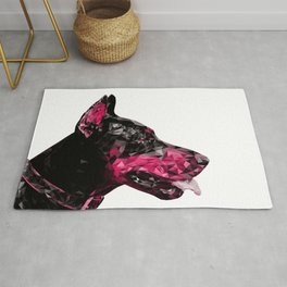 Dog Lover Art Pink Doberman Abstract Modern Animal Art Decor Gift Rug