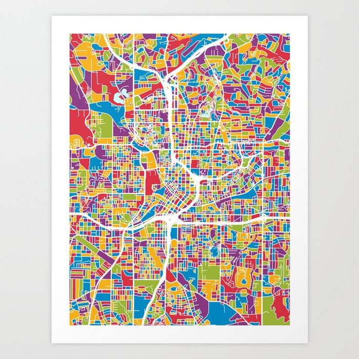 Atlanta Georgia City Map Kunstdrucke