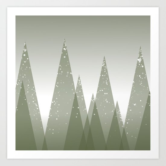 Green Abstract Forest Art Print