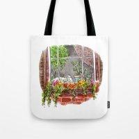 shih tzu Tote Bags featuring Shih Tzu by Renee Kurilla