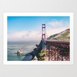 Where Ocean and City Part Ways - Gold Gate Art Print