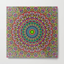 Happy Garden Mandala Metal Print