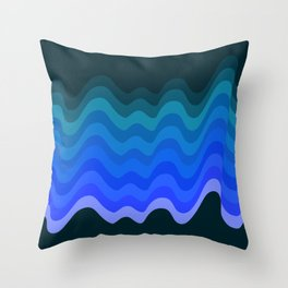 Blue Wave Retro Ripple Throw Pillow