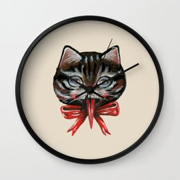 Cute Krampus cat face with red bow Wall Clock