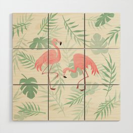 Flamingo Love Tropical Wood Wall Art