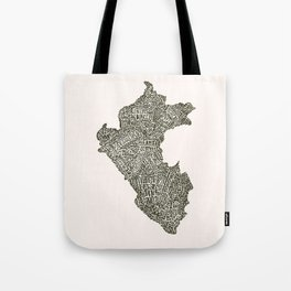 Lettering map of Perú Tote Bag