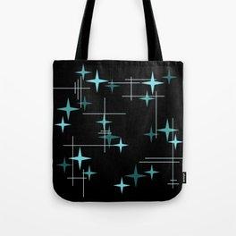 Mid Century Modern Stars Black Teal Tote Bag