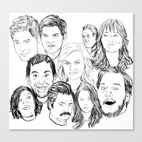 parks and recreation Canvas Prints featuring Parks and Recreation 'Rec a Sketch' by Moremeknow