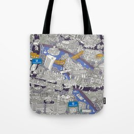 Illustrated map of Berlin-Mitte. Blue Tote Bag