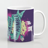 work hard Mugs featuring Work Hard by Akiwa