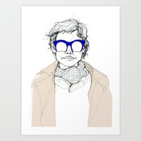 glasses Art Prints featuring Glasses by fossilized