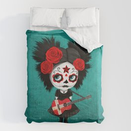 Day of the Dead Girl Playing Danish Flag Guitar Comforters