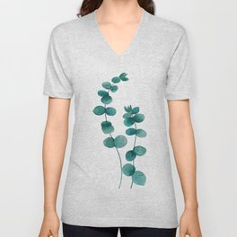green eucalyptus watercolor Unisex V-Neck