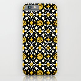 Flower ornament in perfect gold yellow with just the barest hint of orange in black and white. iPhone Case