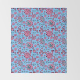 Soft Pastel Pink and Blue floral 'Not Your Babe' print Throw Blanket