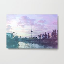 Berlin at Sunset - Illustration - Alexanderplatz - Alex TV Tower Metal Print