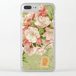 Vintage Cherry Blossoms and Ephemera - French Ephemera Collage Print - Vintage Botanical Clear iPhone Case