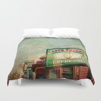 kerouac Duvet Covers featuring Caffe Trieste by Jenndalyn