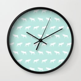 Moose pattern minimal nursery basic mint and white camping cabin chalet decor Wall Clock
