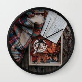 Marshmallows, Hot Chocolate, Autumn Wall Clock