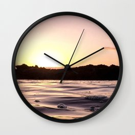 Ocean Waters // Turtle Bay Hawaii Behind the Cove Orange Pink Yellow Sunset Wall Clock