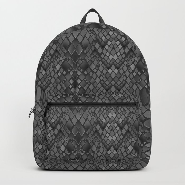 Abstract and faux crocodile skin .Texture Dark gray . Backpack