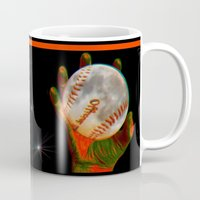 baseball Mugs featuring Baseball Moon by Mel Moongazer