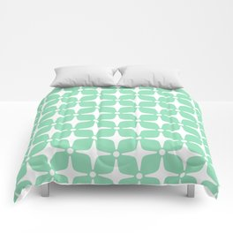 Mid Century Modern Star Pattern Mint Green 2 Comforters