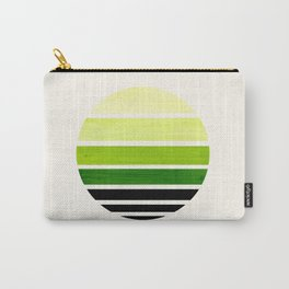 Sap Green Mid Century Modern Minimalist Circle Round Photo Staggered Sunset Geometric Stripe Design Carry-All Pouch