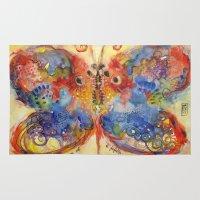 ali gulec Area & Throw Rugs featuring Astrazioni su ali di farfalla by Alessandro Andreuccetti